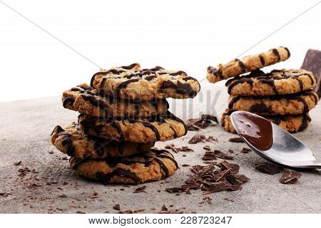 Chocolate Cookies On Stone Table. Chocolate Chip Cookies Shot