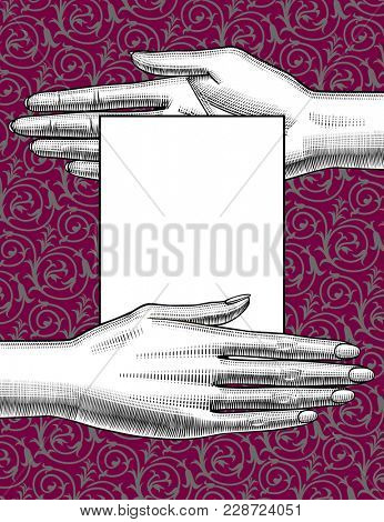 Cover and banner with two women's hands palm down hand palm up holding a paper sheet on the decorative background. Vintage engraving stylized drawing