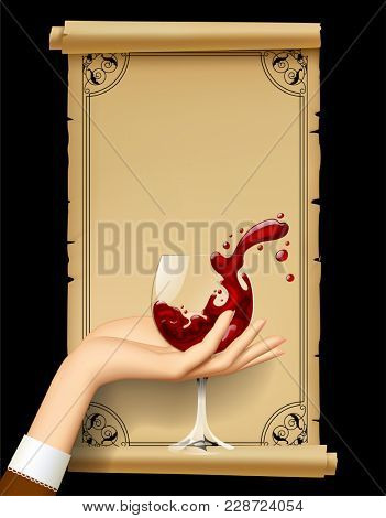 Wine list with hand holding a wineglass with splashed wine. Vintage menu template with framed old parchment