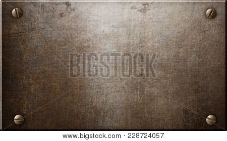 old rustic steel metal plate or plaque with rivets 3d illustration