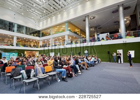 MOSCOW, RUSSIA - SEP 30, 2017: Auditorium of Headquarters Mail.Ru Group during conference Day of Internet Advertising. People participants listen to speaker.