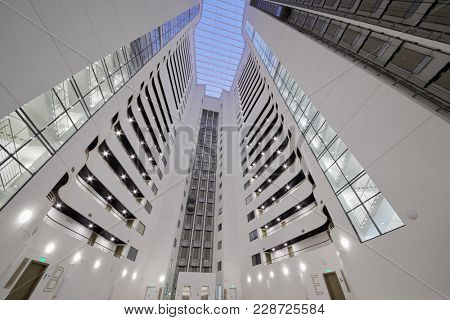 SOCHI, RUSSIA - OCT 7, 2017: Inner space of modern residential multistoried apartment building Actor Galaxy.