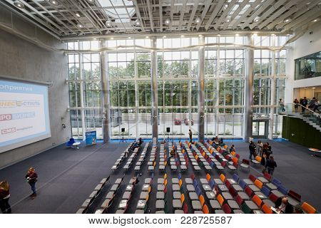 MOSCOW, RUSSIA - SEP 30, 2017: Auditorium during break of conference Day of Internet Advertising in Headquarters Mail.Ru Group.
