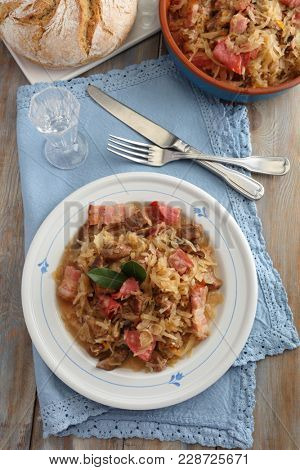 Bigos, the traditional Polish dish, the cabbage and meat stew