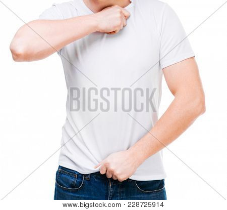 man in white T-shirt for design template on white background. Blank copy space on casual T shirt