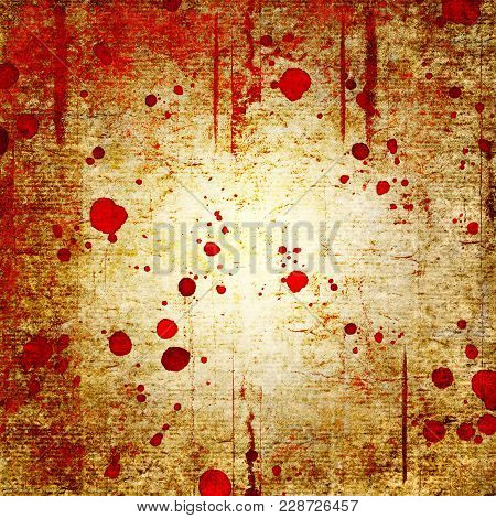 Bloody Blood Red Grunge Background. Vntage Abstract Texture Background. Watercolor Hand Drawn Aged P