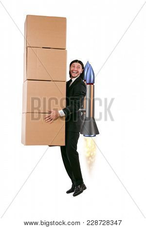 Businessman delivering boxes isolated on white background