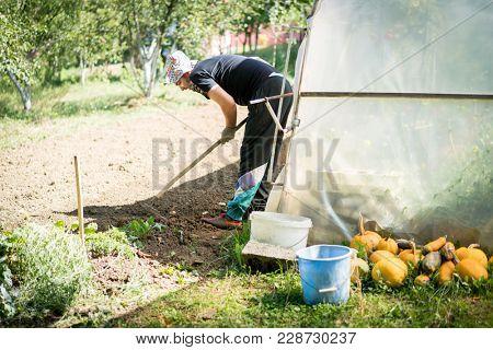 man work in his garden