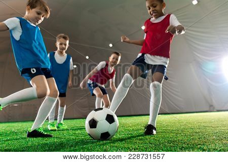 Football team of several little players kicking soccer ball during training