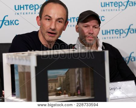 ST. PETERSBURG, RUSSIA - DECEMBER 11, 2017: Costume and set designer Jerome Kaplan (left) and choreographer Johan Kobborg on the press conference dedicated to the premiere of ballet Don Quixote
