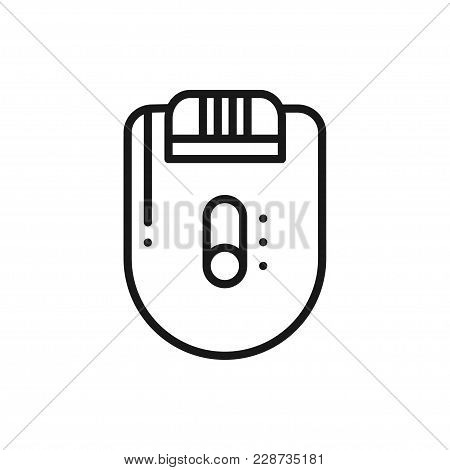 Electric Epilator Line Icon. Hair Removal Method. Epilation