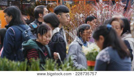 Victoria Park, Hong Kong 14 February 2018:- Hong Kong Lunar new year fair in Victoria park