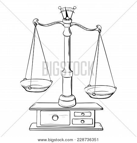 Retro Drawing Of A Vintage Scales In The Form Of A Black And White Sketch On A White Background