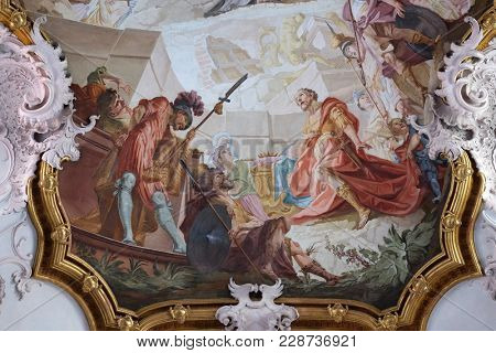 AMORBACH, GERMANY - JULY 08: Miracles of St. Benedict, detail of fresco by Matthaus Gunther in Benedictine monastery church in Amorbach, Germany on July 08, 2017.