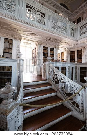 AMORBACH, GERMANY - JULY 08: Library in Amorbach Benedictine abbey in the district of Miltenberg in Lower Franconia in Bavaria, Germany on July 08, 2017.