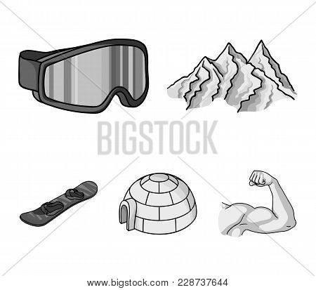 Mountains, Goggles, An Igloo, A Snowboard. Ski Resort Set Collection Icons In Monochrome Style Vecto