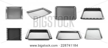 Set of empty baking sheets for oven on white background