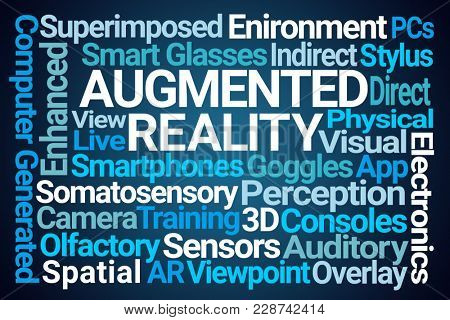 Augmented Reality Word Cloud on Blue Background