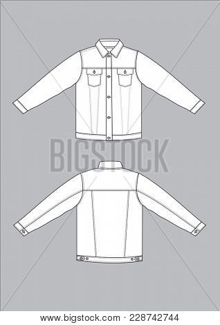 Traditional style denim jeans jacket front and back view.