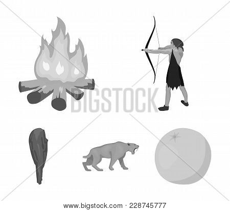 Man, Hunter, Onion, Bonfire .stone Age Set Collection Icons In Monochrome Style Vector Symbol Stock