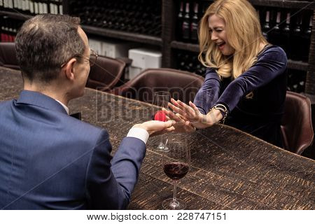 Screaming Woman Refusing Propose From Her Boyfriend At Restaurant