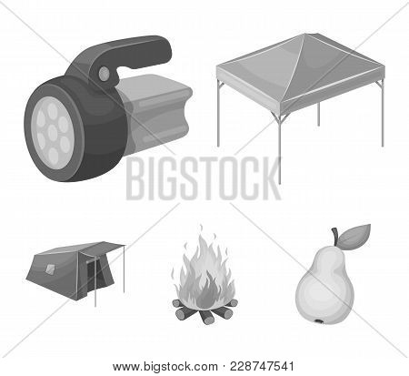 Awning, Fire And Other Tourist Equipment.tent Set Collection Icons In Monochrome Style Vector Symbol