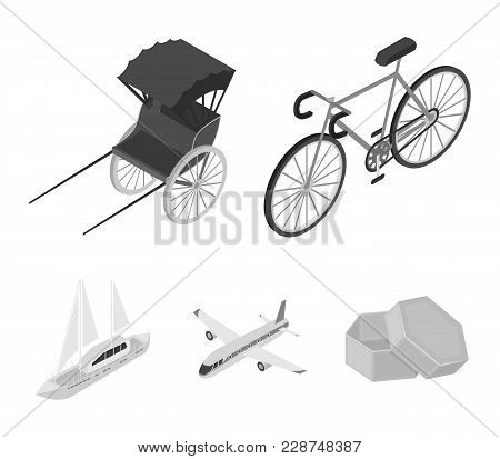 Bicycle, Rickshaw, Plane, Yacht.transport Set Collection Icons In Monochrome Style Vector Symbol Sto