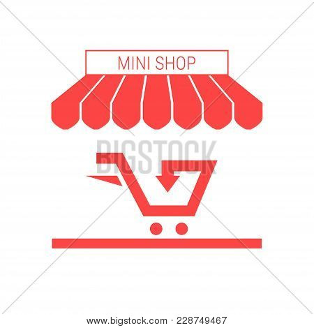 Small Shop, Mini Market Single Flat Vector Icon. Striped Awning And Signboard. A Series Of Shop Icon