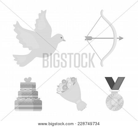 Arrow Cupid, Dove, Bouquet Of Flowers, Wedding Cake. Wedding Set Collection Icons In Monochrome Styl