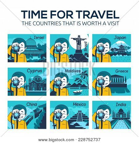 Set Of Flat Travel Icons With Character Photographer. Different Countries, Cities, Landmarks Of Worl