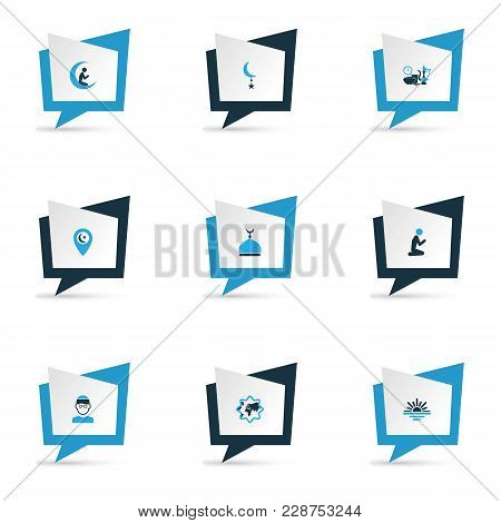 Holiday Icons Colored Set With Prayer, Mullah, Religion And Other Mosque Elements. Isolated Vector I