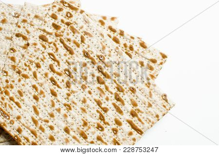 Traditional Jewish Kosher Matzo For Easter Pesah On A Wooden Table. Jewish Easter Food. Spring.on A