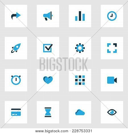 Interface Icons Colored Set With Ahead, Video, Hourglass And Other Watch Elements. Isolated Vector I