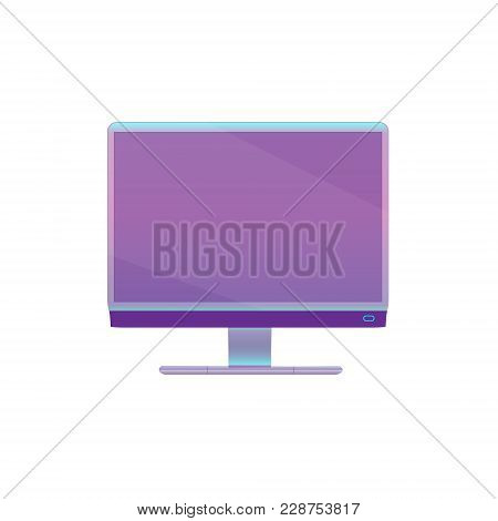Modern Purple, Ultraviolet Flat Screen Computer Monitor Isolated On White Background. Vector Illustr