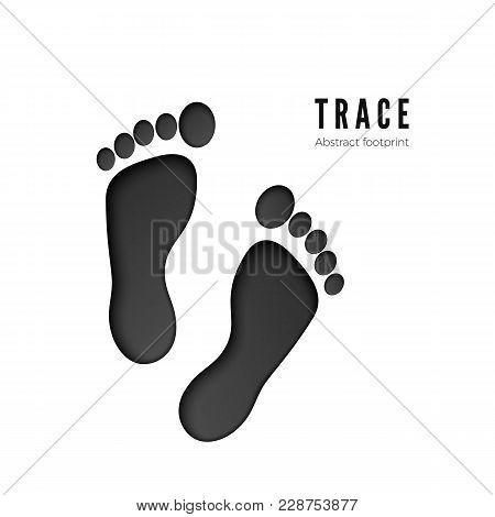 Footprint Vector Icon Isolated On White Background. Foot Print Icon. Black Silhouette Of Footprint.