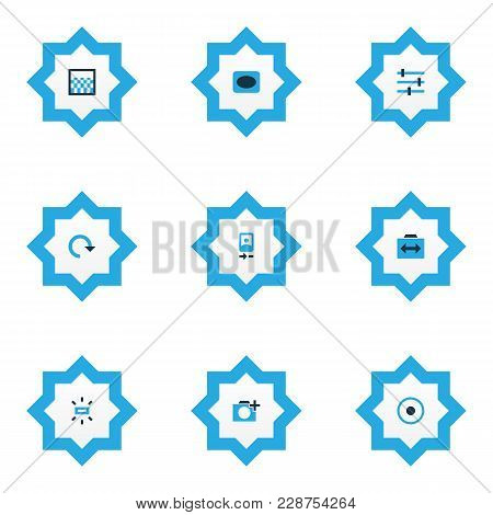 Photo Icons Colored Set With Tune, Wb Sunny, Adjust And Other Refresh Elements. Isolated Vector Illu