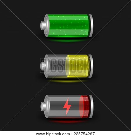 Discharged Half Charge And Charged Battery Icon Set On Black Dark Background. Glossy Batteries Colle