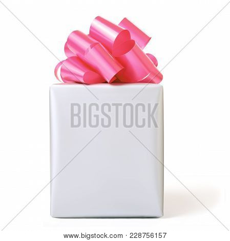 Grey Gift Box With Red Bow Over White Background. Front View.