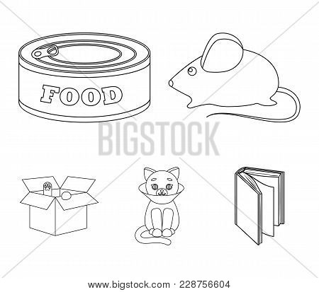 Mouse, Food In The Bank, Sick Cat, Cat In The Box.cat Set Collection Icons In Outline Style Vector S