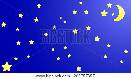 Night Sky With Moon And Stars Vector