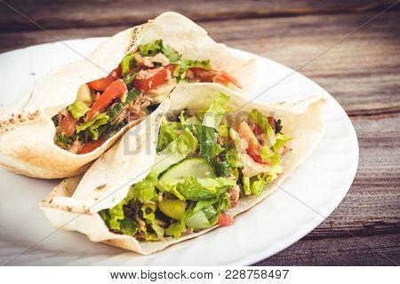 Tuna Salad Pita Sandwich Closeup Dish Plate