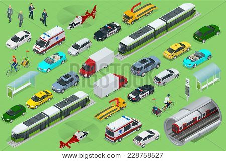 Isometric City Transport With Front And Rear Views. Trolley, Plane, Helicopter, Bicycle, Sedan, Van,
