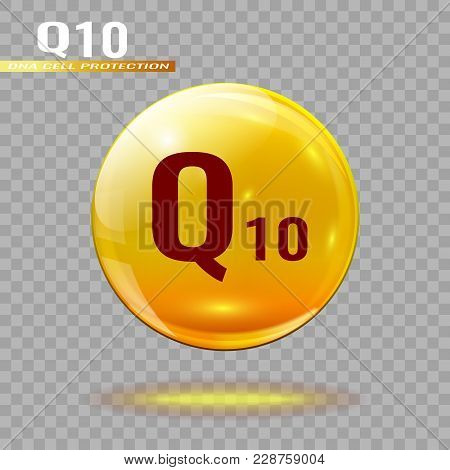 Gold Pill Capsule Or Gold Drop With Coenzyme Q10 On A Transparent Background. Medical Or Medical Tem