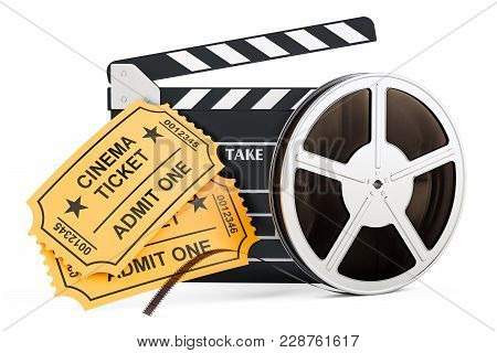Movie, Film Industry Concept. 3d Rendering Isolated On White Background