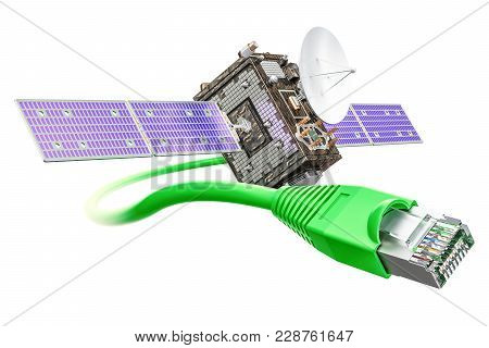 Satellite Internet Service Concept, 3d Rendering Isolated On White Background