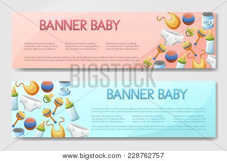 Set Of 2 Vector Brouchure. Flyer, Banner With Baby Care Items Isolated On Background.toddler Accesor