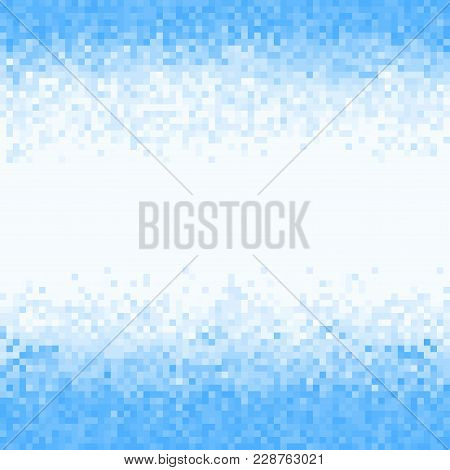 Blue Abstract Pixel Background. Digital Background With Mesh Of Squares. Geometric Style.