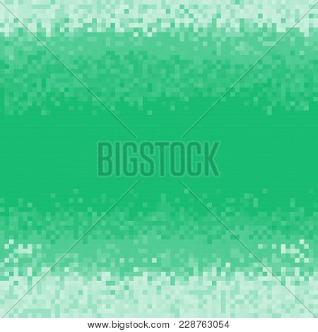 Dark Green Pixel Background In 8-bit Style. Abstract Digital Background With Mesh Of Squares. Geomet