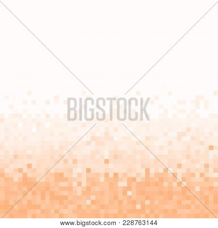 Peach Pixel Geometric Background. Abstract Digital Background With Mesh Of Squares. Geometric Style