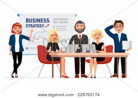 Set Of Business People Cartoon Characters. Colleagues At The Meeting, Business Woman Pointing At The